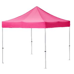 3m x 3m exhibition gazebo, stock pink canopy.