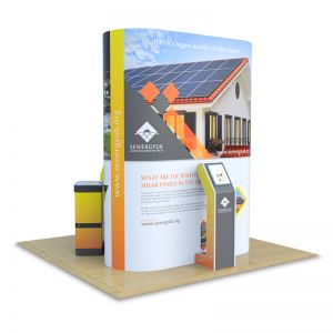 3m x 3m Jumbo island Stand, supplied with Fusion iPad Stand.