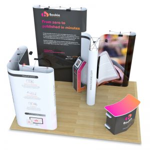 3m x 4m Jumbo Pop up exhibition stand with L Shape, Fusion iPad stand and Aztec counter