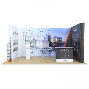 3m x 6m Jumbo U shape bundle, includes a leaflet dispenser, Fusion iPad stand and celtic counter which are made from Xanita Board.