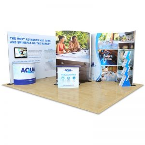 4m x 5m Double Sided Streamline bundle. Includes 2 double sided streamline displays, cascade leaflet dispenser, Aztec counter & Jasper counter made from eco-friendly Xanita Board. Plus a table and stools.