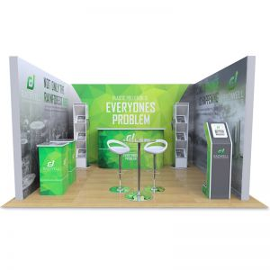 3m x 4m Modular exhibition stand, includes 10 printed backdrop panels, Brandon leaflet dispensers, Celtic counter, Fusion iPad stand, Saxon display plinths, Table and Stools