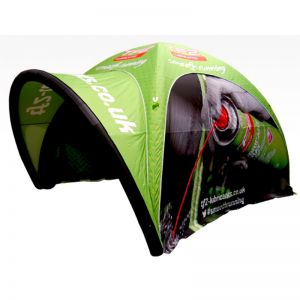 Inflatago inflatable outdoor tent set, full custom print supplied with awning.