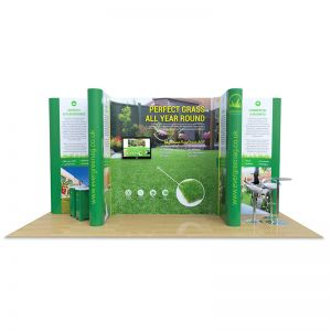 4m x 6m Jumbo display stand, supplied with custom printed plinths and a table and 4 stools.