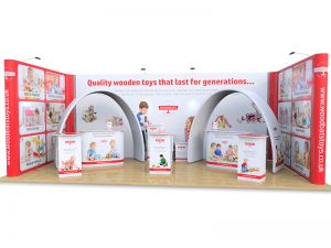 4m x 8m U Shape stand includes Jumbo U Shaped Pop Up, Fabric Archways, Celtic exhibition counters, Rockport exhibition counters, Saxon display plinths and folding desktop totems