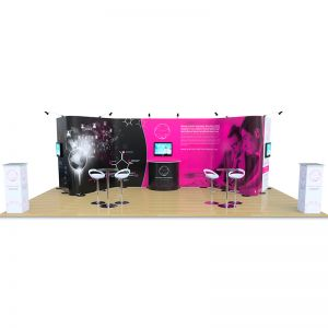 4m x 8m Streamline wave system with 3 monitor arms, counters, tables and stools