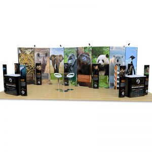 4m x 8m Streamline exhibition stand, including printed folding totems, Hexby leaflet dispenser, Kingston counters and seating.
