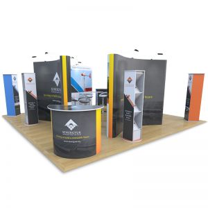 6m x 6m Exhibition Stand includes 4 x double sided 3x3 pop ups, Brandon leaflet dispensers, Promo towers, Jasper counters, Tables and Stools