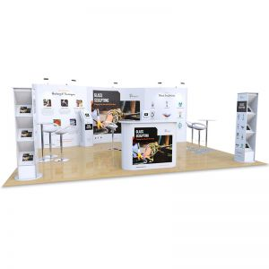 5m x 6m Exhibition Stand includes wave pop up backdrop display, Celtic counter, Brandon literature stands, Fusion iPad stands, Tables and Stools
