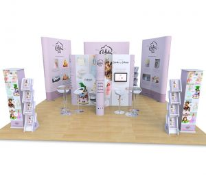 6m x 6m Exhibition Stand includes 3x1 cross island display, 4x2 Jumbo Pop Ups, 4x3 Jumbo Pop Up, Monitor arm, Cascade literature stands, Promo towers, Tables and Stools