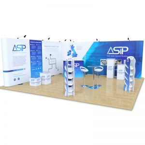 6m x 6m Streamline L Shape exhibition stand. Includes Streamline, Xanita accessories & table and stools.