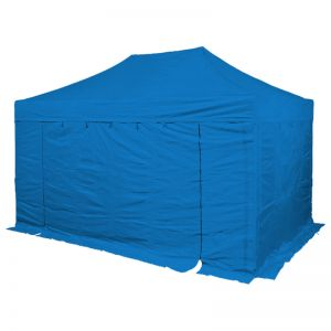 3m x 4.5m gazebo, 4 blue walls with doorway.