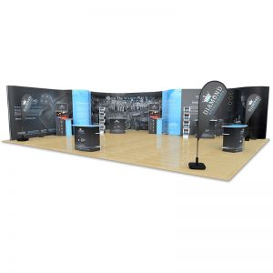 8m x 10m S Shape streamline bundle. Includes eco friendly xanita counters, media stands and leaflet dispensers & 3 custom printed flags.