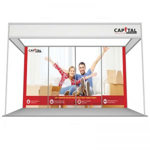 3m x 4m shell scheme, with rollable graphics or printed foamex panels. Uses 4 printed panels.