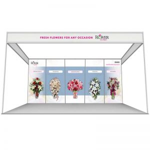 3m x 5m shell scheme, back wall printed panels. Choose from 5 printed rollable graphics or foamex panels.