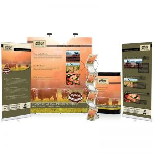3x2 pop up bundle includes 3x2 straight pop up, leaflet dispenser, pop up upgrade kit, sterling 850 roller banners x 2