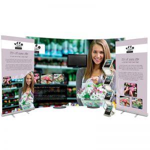3m streamline pop up display bundle, including 2 sterling banners, monitor bracket and storm leaflet dispenser.