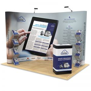 2m x 3m Exhibition Stand Design, curved designed to maximise your stand space