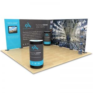 4m x 4m Streamline Exhibition Stand includes a 7m Streamline backdrop display, monitor arm, 2 counter upgrade kits and a literature rack