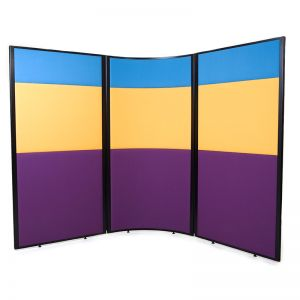 3 part acoustic concept screens, with 3 fabric choices.