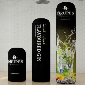 Custom printed, inflatable columns. Suitable for exhibition use.