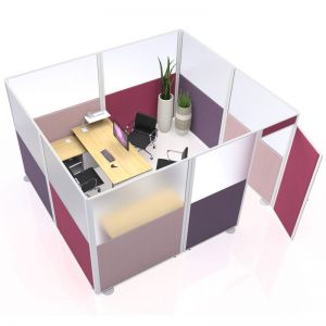 inspire Acoustic Office Pod from Go Displays, upholstered in Era fabric range for stylish finish