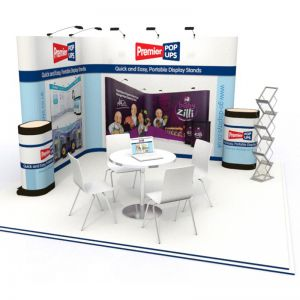 L-Shaped Pop up Display Stand Kit - 3x2 Pop up Stand with 3x3 Pop up Stand