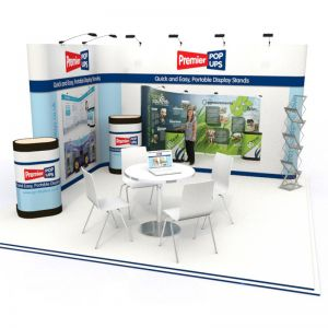 L shaped Pop up Stand with a 3x2 Pop up Display and a 3x4 Pop up Linked together