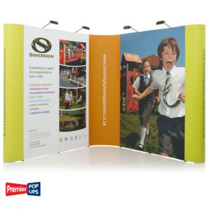 L-Shaped Pop up Display Stand Kit - 2 3x2 Pop up Stands with lights, cases and graphic wrap.