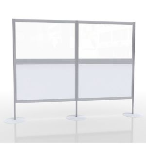 Multi-panel social distancing screen with acrylic and laminate panels.