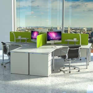 Omega Acoustic Desk Divider Screen fitted to desk