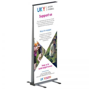 Outdoor double sided roller banner