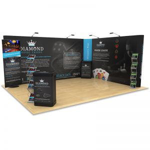 4m x 5m Exhibition Stand Design kit includes large L Shape pop up backdrop, Switch banner stand, literature racks and counter upgrade kits.
