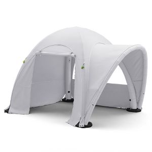 4m x 4m inflatable, stock coloured tent with 3 walls and awning.
