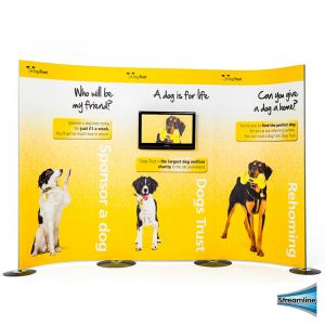 Streamline Media Stand with 3 Streamline printed panel and 4 poles & bases.