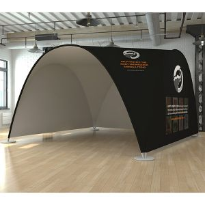 4m x 4m printed fabric tent, uses a waterproof stretch fabric cover.