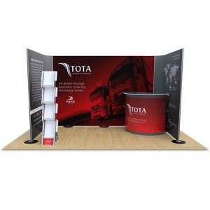 2m x 4m exhibition stand, with 6m Streamline backdrop display, exhibition counter and literature stand