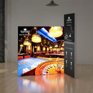3 panel LED light box, with a stretch fabric printed panel