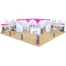 10m x 10m Streamline L Shape backdrop with Fabric C booths, tables, chairs, iPad stands, exhibition counters, fabric backdrop and totem displays