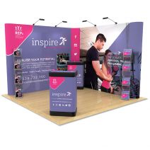 3m x 3m Exhibition Stand Design, includes L Shape Pop Up, literature racks and podium stands