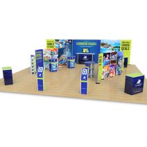 10m x 10m exhibition stand includes 2.5m H streamline backdrop, 2 x double sided 1.8m H streamline displays, Celtic counter, Rockport counters, Fusion iPad stands, Hexby leaflet dispensers and Kingston exhibition counters