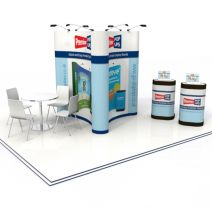 Triple 3x2 Pop up stand Island with pop up storage cases with graphic wraps from Go Displays