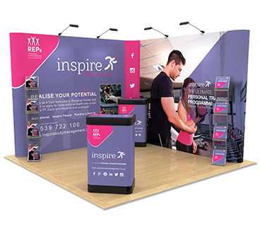 3m x 3m L-Shaped Exhibition Stand, manufactured by Go Displays