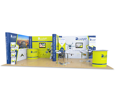 4m x 7m f shape exhibition stand, manufactured by Go Displays