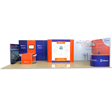 4m x 9m hire exhibition stand, designed by Go Displays
