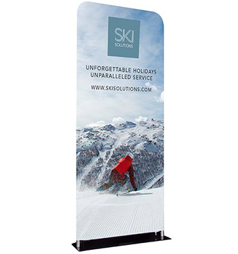 Fabric banner stands, custom printed by Go Displays