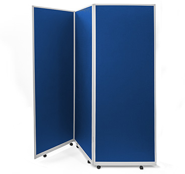 Mobile, portable partition screens manufactured by Go Displays