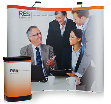 Pop Up exhibition stands, available in multiple sizes and finishes
