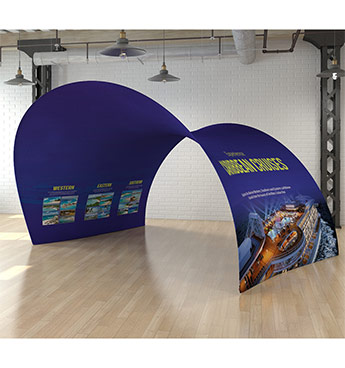Fabric display stands, tunnels and arches available from go displays